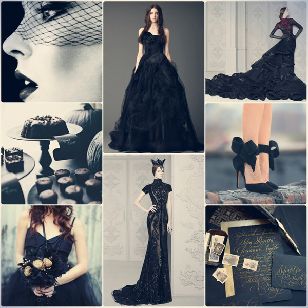 all black wedding color ideas for maleficent wedding inspiration