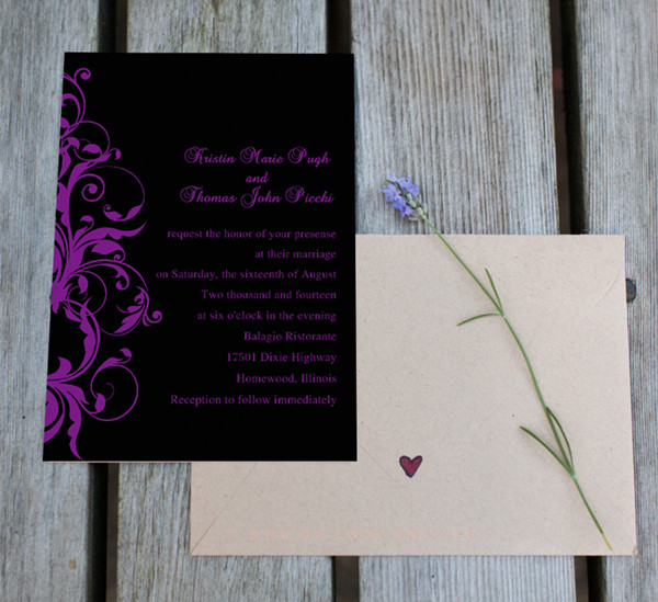 black and purple maleficent inspired wedding invitations