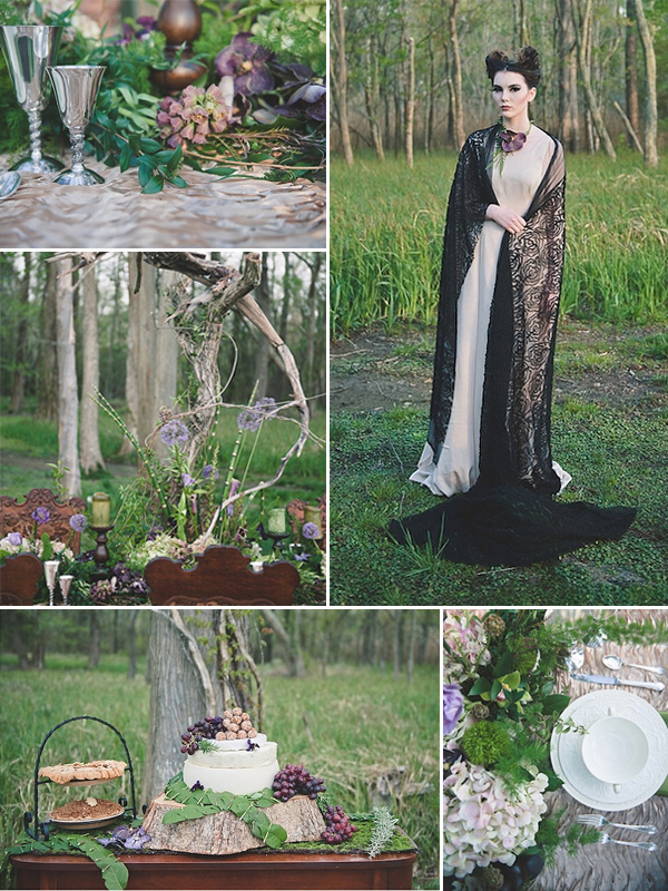 black and purple maleficent inspired wedding color ideas