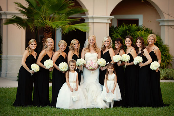 black wedding bridesmaid dresses for maleficent wedding theme inspirations