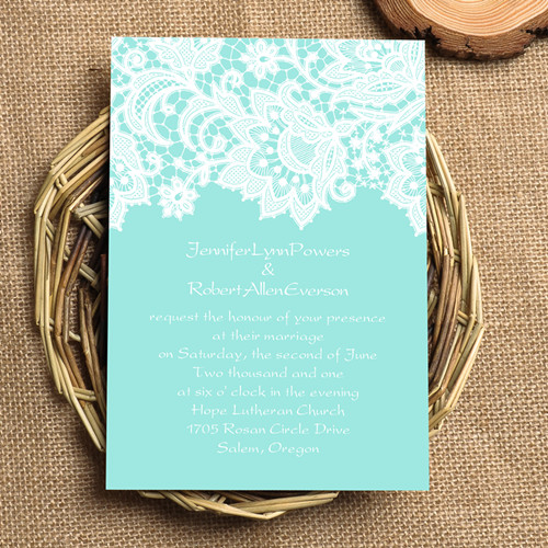 Lace Tiffany Blue Wedding Invites