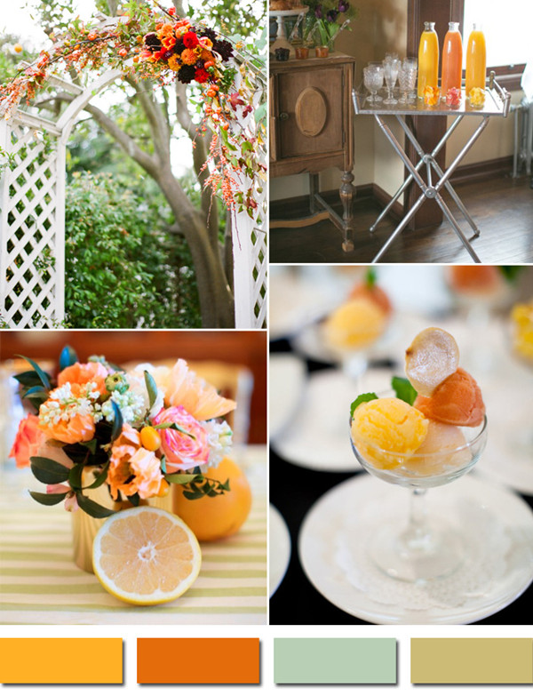 citrus and orange inspired 2014 fall wedding color palettes