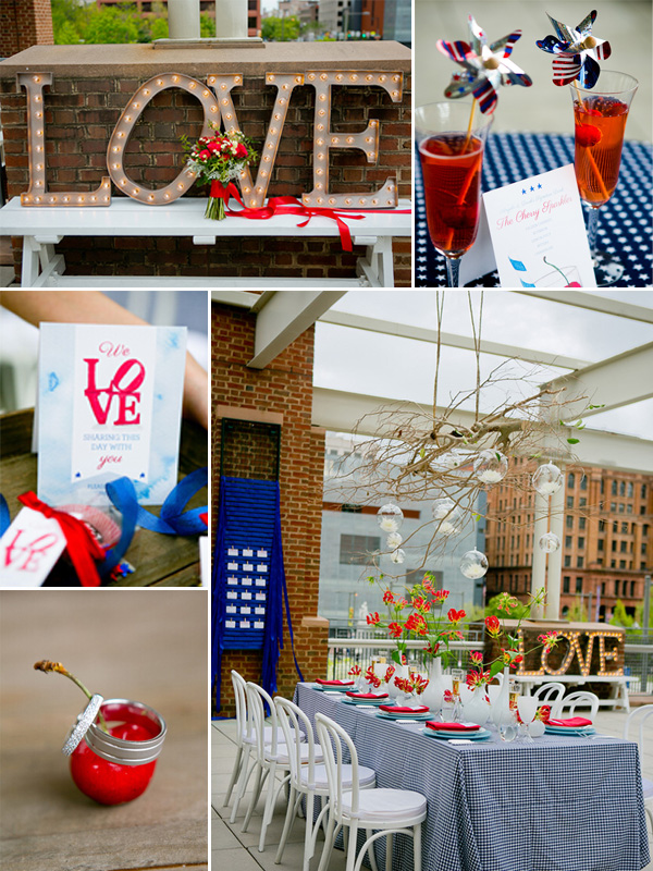 navy blue and red nautical theme 4th of july inspired wedding ideas
