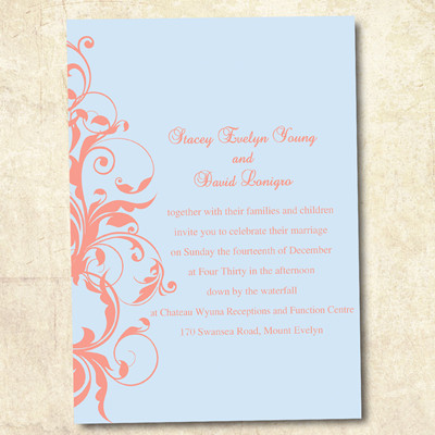 Pastel blue and coral Wedding Invitations
