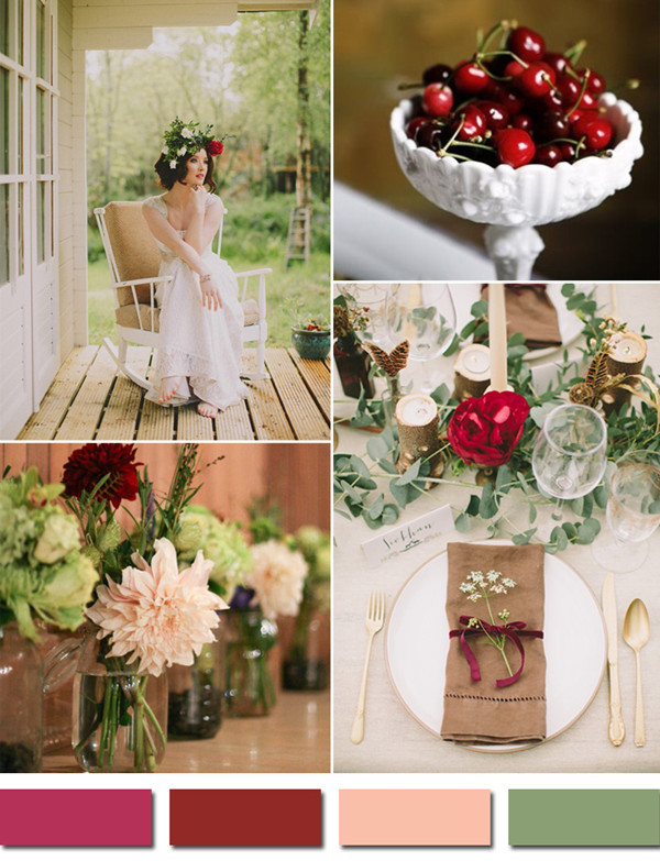 raspberry inspired red burgundy and blush fall wedding color ideas 2014