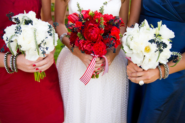 red and anvy blue fourth-of-july-wedding bridesmaid dresses