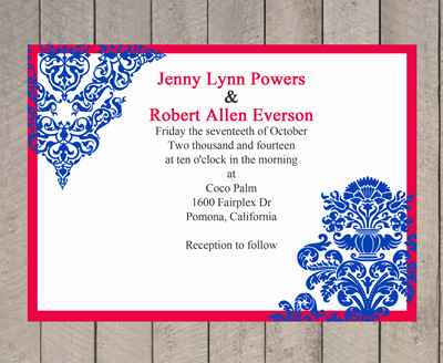 Red and Blue Wedding Invitation Card