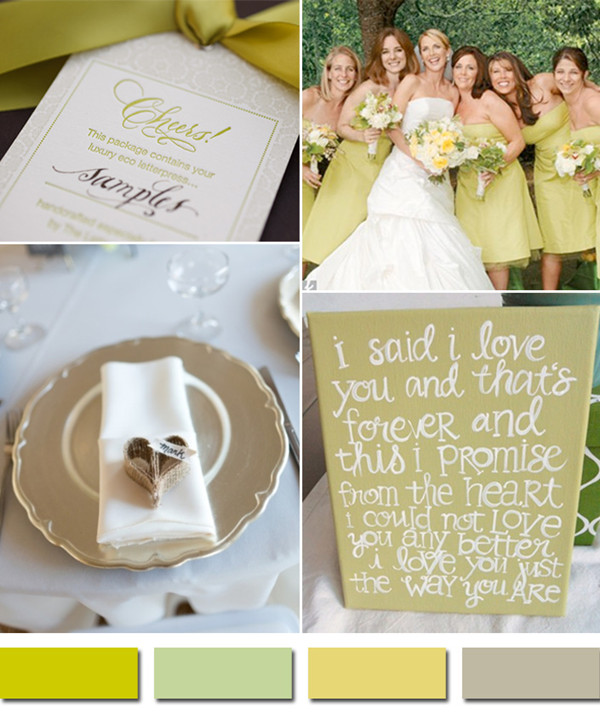 shades of sage and chartreuse inspired 2014 fall wedding color schemes
