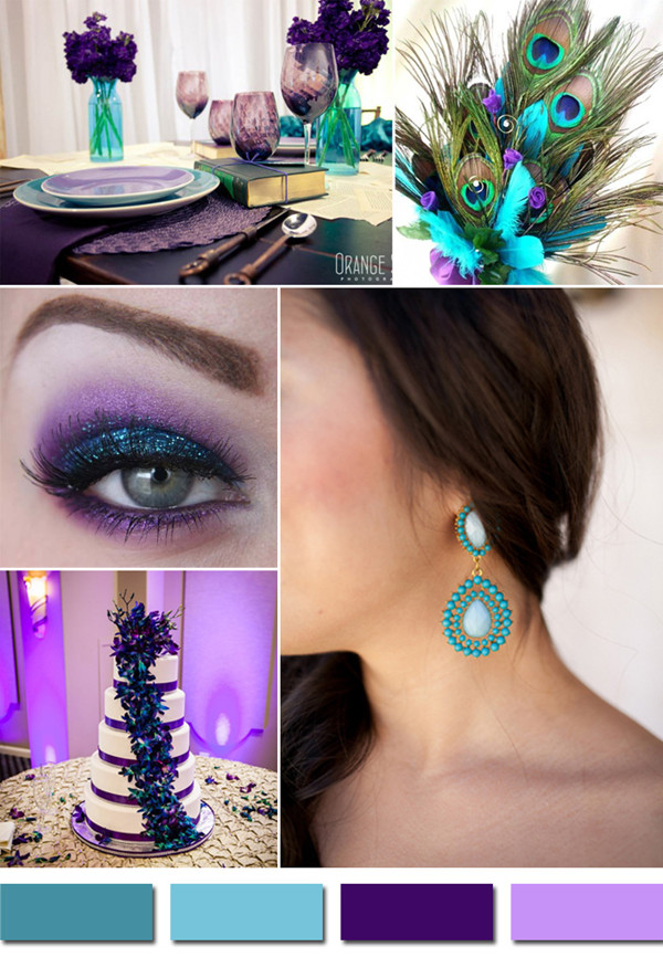 teal and purple peacock fall wedding color ideas 2014