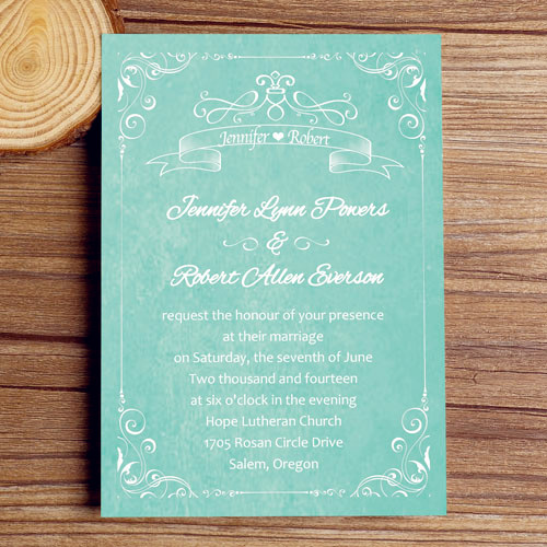 Vintage Teal Wedding Invitations