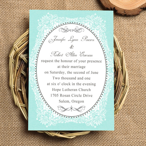 Vintage Tiffany Blue Wedding Invites
