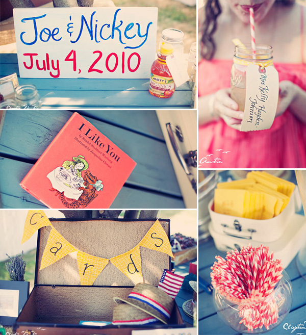 yellow red and blue 4th of july vintage wedding ideas