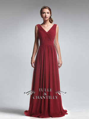 Cranberry Long V-Neck Empire Ruched Waist Bridesmaid Dress