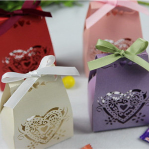 Glamour Laser cut paper fall wedding favor boxes cranberry