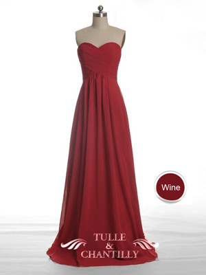 Long Fame Cranberry Red Sweetheart Strapless Bridesmaid Dress