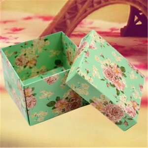 country green floral wedding favor box