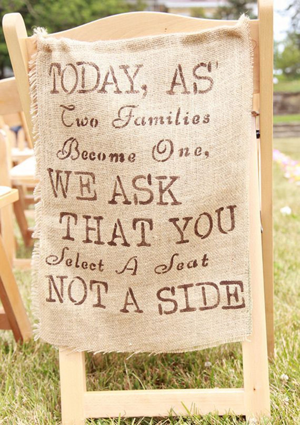burlap wedding chair decorations for country rustic wedding ideas