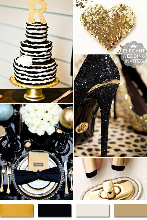 classic black and metallic gold wedding color ideas