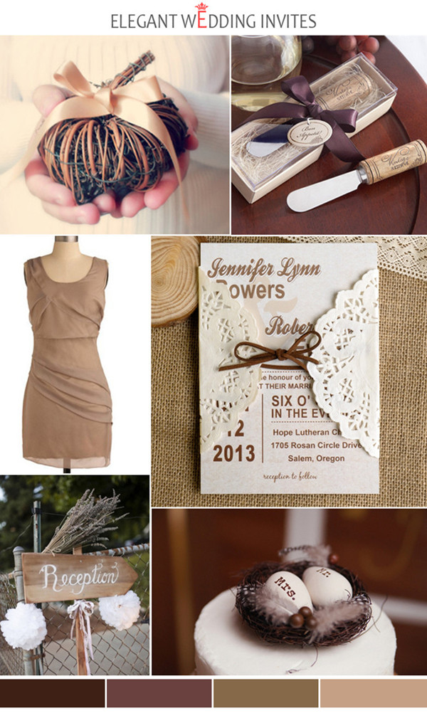 country rustic brown and chocolate neutral fall wedding inspirations 2014