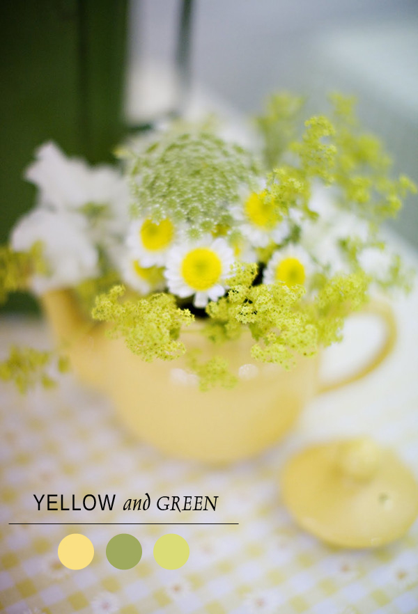daisy inspired yellow and green bridal shower color ideas