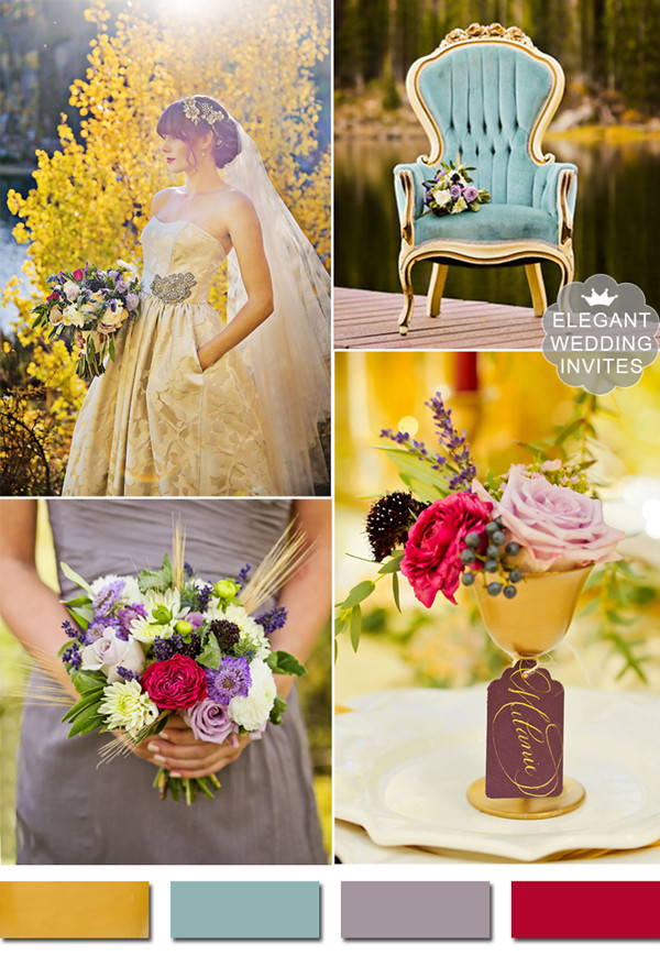 gold teal and purple vintage fall wedding color ideas