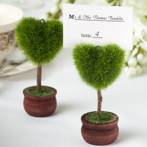 Heart Shape Green Bonsai Place Card Holder