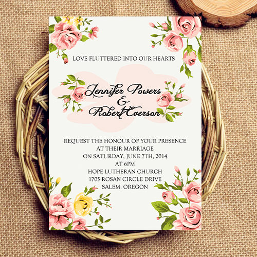 Fabric Inspired Vintage Floral Wedding Invites