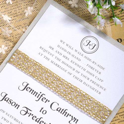 Layered Wedding Card with Gold Sparkle