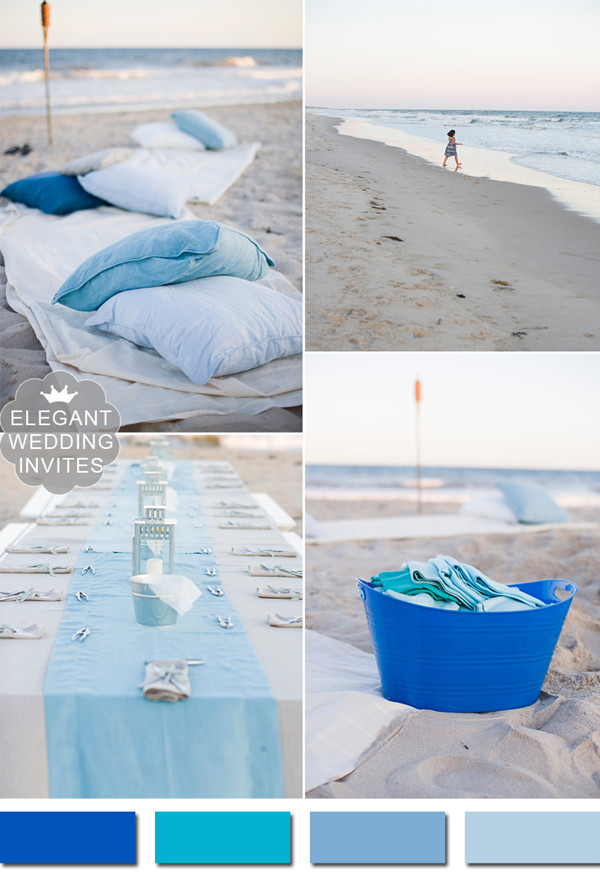 shades of blues rustic beach themed wedding ideas