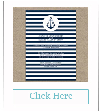 striped navy blue nautical beach wedding invitations