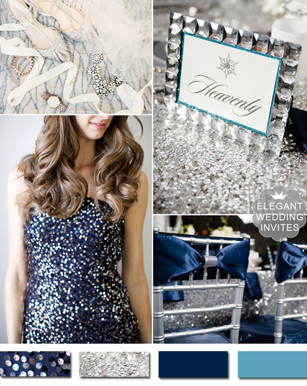 Trending Metallic Navy Blue And Silver Winter Wedding Ideas