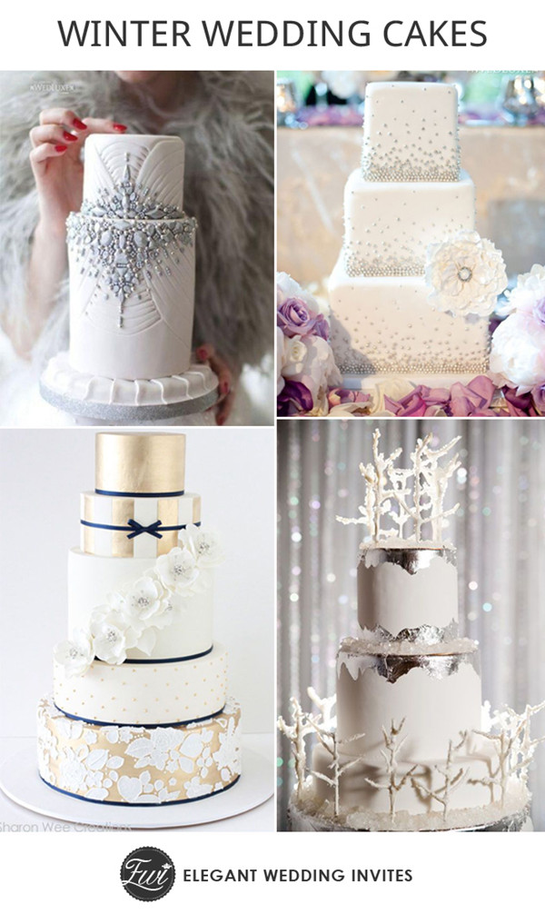 2014 trending white and silver winter wedding cakes