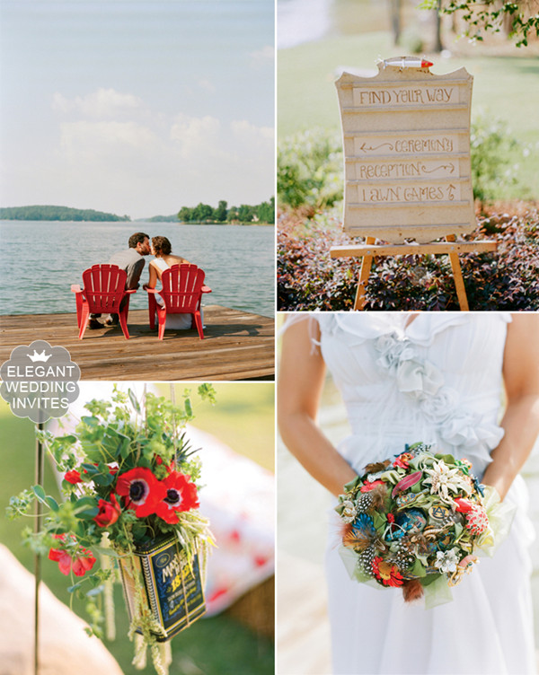 2015 trending red and green rustic lakeside wedding ideas