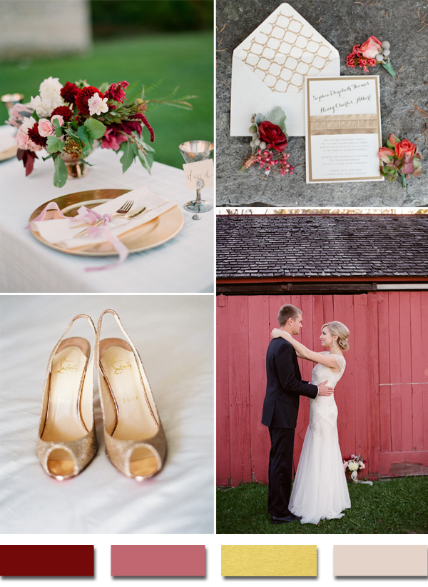 2015 trends burgundy and gold metallic wedding color ideas
