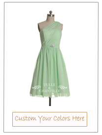 Short One Shoulder Lime Green Chiffon Cocktail Bridesmaid Dress
