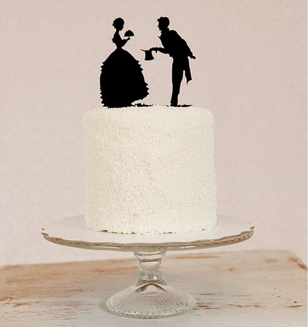 Black Silhouette Wedding Cake Topper