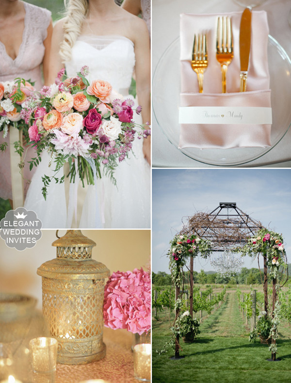 blush sangria and gold vineyard wedding color ideas