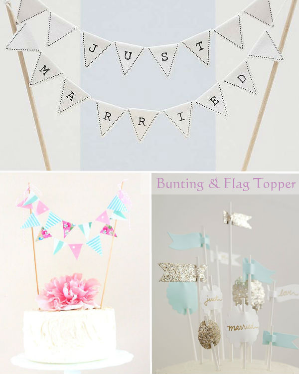 bunting flag wedding cake toppers