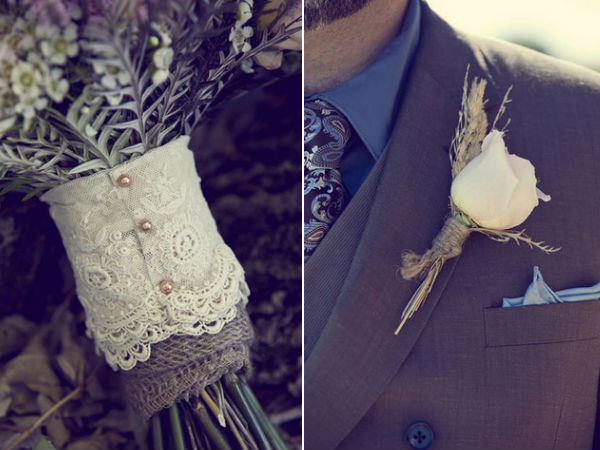 burlap lace country rustic wedding bouquet