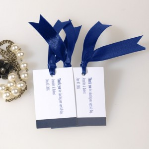 navy blue wedding favor tags with ribbon