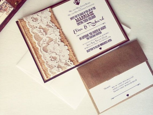 chic rustic wedding invites with lace burlap details