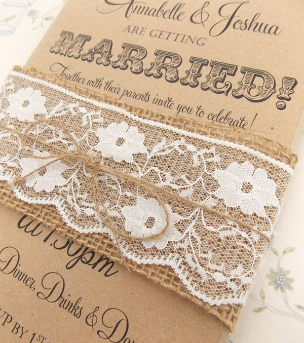 rustic burlap & lace wedding decorations and inspiration, Wedding invitations