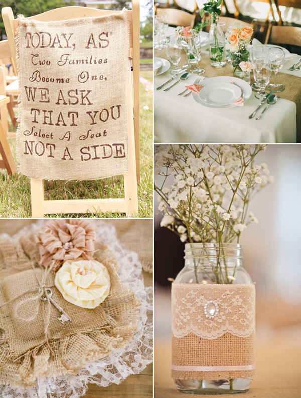 Country Rustic Chic Blush Lace And Burlap Wedding Ideas
