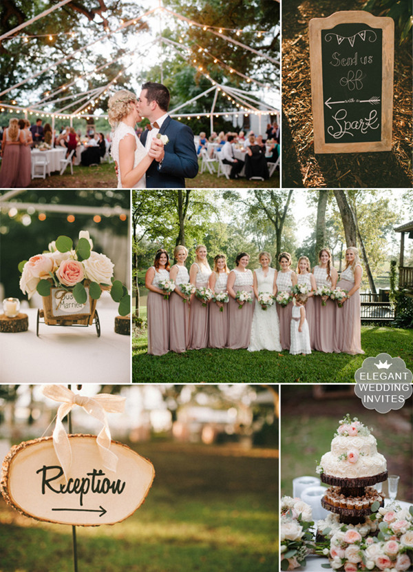 country rustic southern wedding at a park with blush pink colors