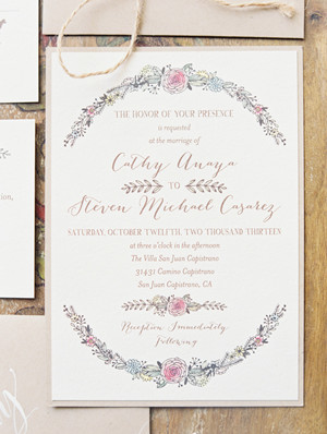 fabric inspired floral layered winter wedding invitations 2014 trends