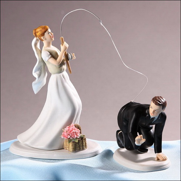 fishing the groom funny wedding cake topper