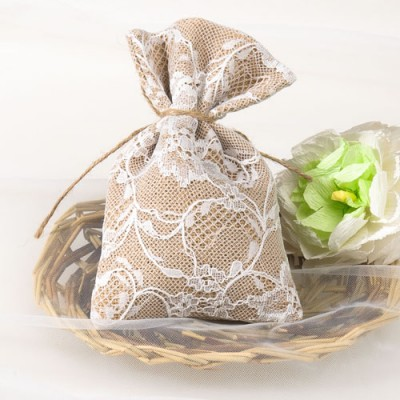 Lace Burlap Wedding Favors