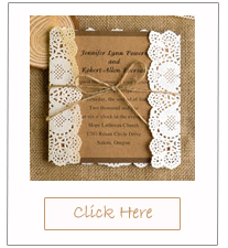 lace and burlap country rustic square wedding invitations