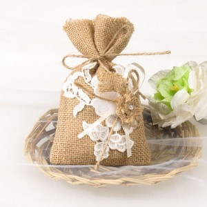 rustic burlap lace wedding favor bags