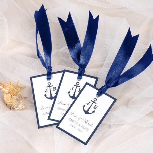 Navy Wedding Favor Tags